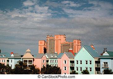 caraíbas, edifícios, island., coloridos