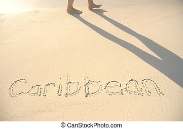 caraíbas, escrito, em, areia, ligado, praia