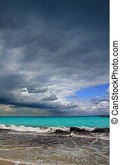 caraíbas, furacão, nublado, tropicais, dramático, tempestade