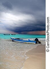 caraíbas, furacão, tempestade tropical, praia, bote, antes de