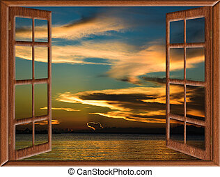 caraíbas, janela, pôr do sol, abertos, vista