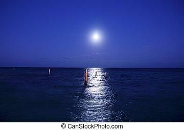 caraíbas, reflexão, panorâmico, mar lua, noturna
