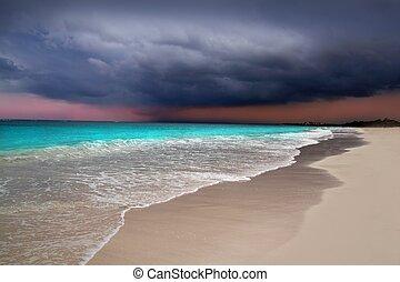 caraíbas, tempestade, furacão, tropicais, mar, começando