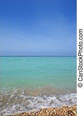 caraíbas, vertical, mar, horizonte, turquioise, água, azul, céu