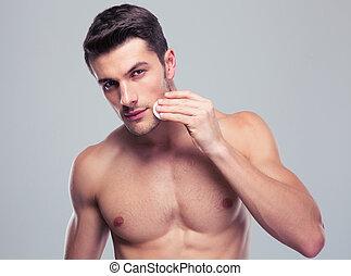 cara, almohadillas, limpieza, piel, hombre, bateo, algodón