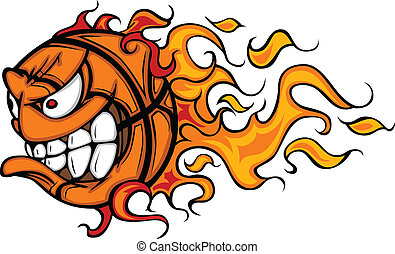 cara, baloncesto, llameante, caricatura