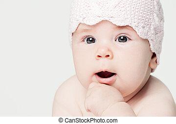 cara bebê, closeup, retrato, branco, bandeira, fundo, com, espaço cópia
