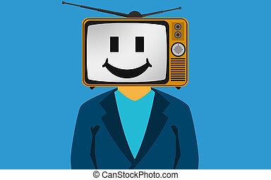 cara, cabeza, smily, televisión, hombre