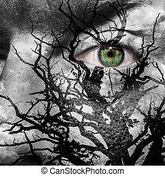 cara, con, ojo verde, pintado, con, medusa, como, árbol
