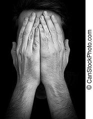 cara covering, –, mãos, depressão, homem
