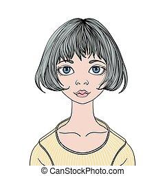 cara, de, joven, lindo, niña, con, ojos grandes, y, corte de pelo, caret., vector, hembra, ilustración del retrato, aislado, blanco, fondo.