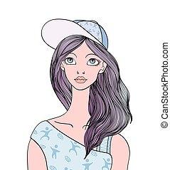 cara, de, joven, lindo, niña, con, pelo largo, y, snapback, en, el, head., vector, hembra, ilustración del retrato, aislado, blanco, fondo.