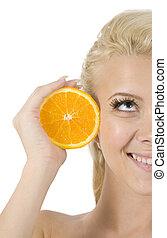 cara, de, modelo, con, rebanada de naranja