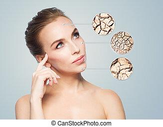 cara, de, mujer hermosa, con, dañado, piel, muestras