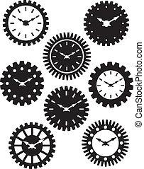 cara de reloj, en, engranajes, silueta, ilustración