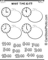cara de reloj, juego, tiempo, narración, niños