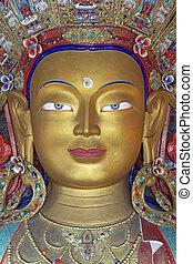 cara, de, un, dorado, buddha