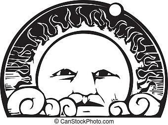 cara del sol, y, planeta, órbita
