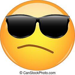 cara, esnob, lleno, intento, pequeño, señal, llevando, emoji, amarillo, emoticon, arrogancia, sunglasses., arrogante, oneself., sombras, teniendo, ceño, ser