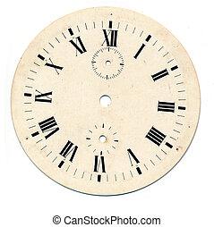 cara, grunge, redondo, reloj