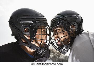 cara, hockey, hielo, saliendo.