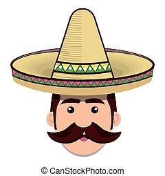 cara, hombre, sombrero mexicano, y, bigote, gráfico