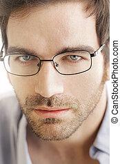 cara homem, com, óculos