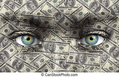 cara humana, con, dinero, textura, -, riqueza, concepto