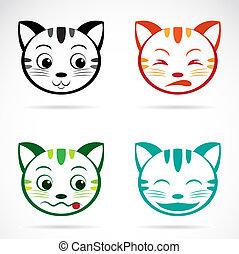 cara, imagen, vector, gato