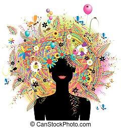 cara mujer, festivo, floral, peinado