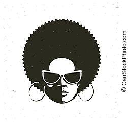 cara mujer, negro, frente, retrato, vista