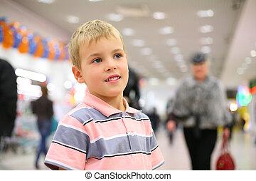 cara, niño, en, tienda