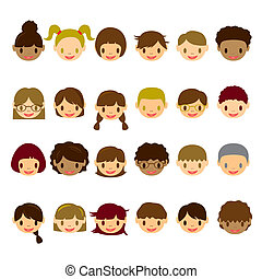 cara, niños, conjunto, iconos