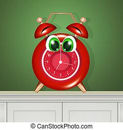 cara, reloj, alarma, divertido