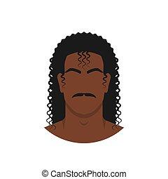 cara, retro, peinado, rizado, pelo largo, negro
