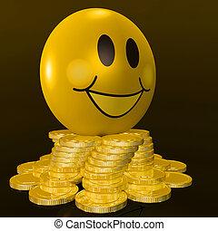cara sonriente, con, coins, exposiciones, provechoso, ganancias