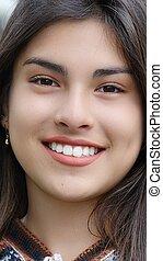 cara sonriente, de, hispano, persona