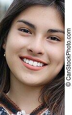 cara sonriente, de, latina, persona