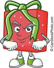 cara vermelha, estilo, presente, caricatura, mascote, smirking, caixa