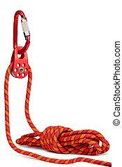 carabiner, -, équipement, corde, escalade, poulie