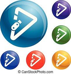 carabiner, vecteur, ensemble, triangulaire, icônes