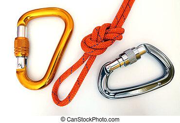 carabiners, équipement, -, noeud, escalade