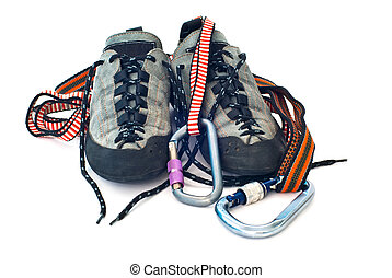 carabiners, cordes, chaussures, escalade
