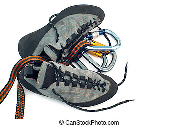 carabiners, escalade, chaussures