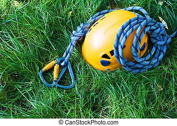 carabiners, helmet and rope