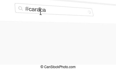 Caracas hashtag search through social media posts animation