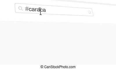 Caracas hashtag search through social media posts animation