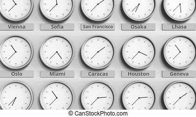 caracas, horloge, projection, foyer, time., animation, venezuela, 3d