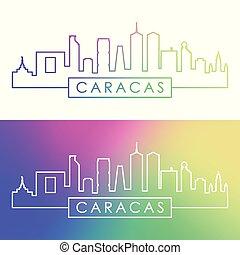 Caracas skyline. Colorful linear style.