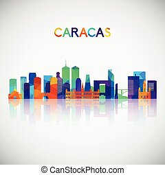 Caracas skyline silhouette in colorful geometric style. Symbol for your design. Vector illustration.